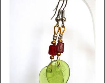 Green leaves and Red Garnet Earrings