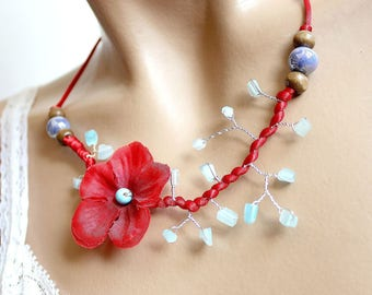 Red and Blue Flower necklace