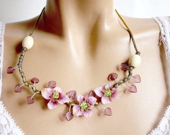 Purple flower necklace branch beads