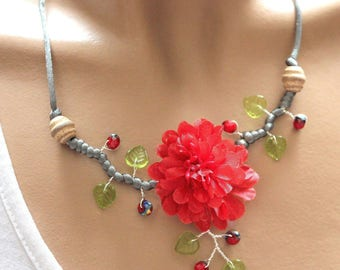 Necklace vegetable red fabric flower