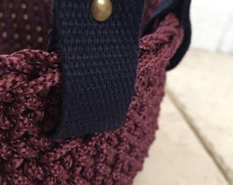Interior crochet purple plum basket