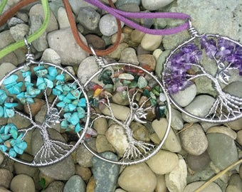 Twisted wire tree of life pendant