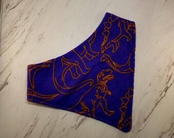 Blue & Orange Dinosaur Bandana Bib