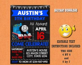 Thomas train invitation,thomas train,thomas train birthday,thomas train invites,PDF editable invitation,thomas train party,invitation
