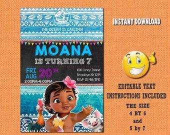 Moana invitation,Moana,Moana birthday,Moana invites,PDF editable invitation,Moana party,Moana invitations,invitations