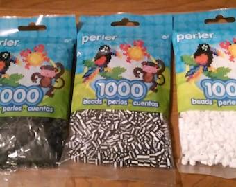 Lots *3000* Perler Beads: Black, White, Zebra Stripe. Fair shipping.