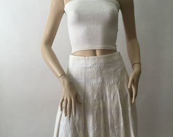 Marni Ivory Embroidered Skirt (Size 42 IT / US 10)