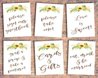 Eight Wedding Printable Signs! Sunflower theme. DIFFERENT SIZES!