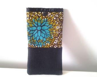 Wax and black basket weave cotton glasses case