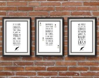 Harry Potter Set of 3 Dumbledore Quote Posters - Harry Potter Films Minimalist Print - Albus Dumbledore Posters, Harry Potter Poster.