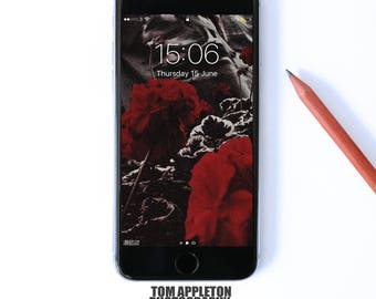 Red Flower iPhone 5,6,7 Wallpaper, iphone lock screen, iphone background, Download instantly.