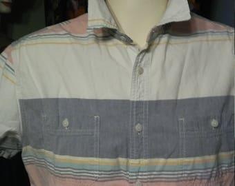 Vintage Hang-Ten Shirt/ Vintage Surfer Shirt/ Hang-Ten Short Sleeve Shirt/1980's Hang-Ten Shirt
