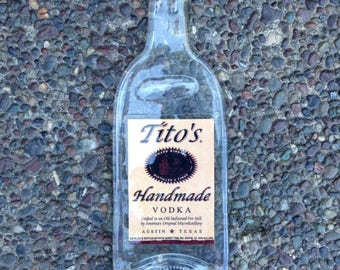 FREE SHIPPING Tito's Titos Texas Vodka Slumped Melted Flattened Wine Bottle Cheese Tray Spoon Rest Eco Gift