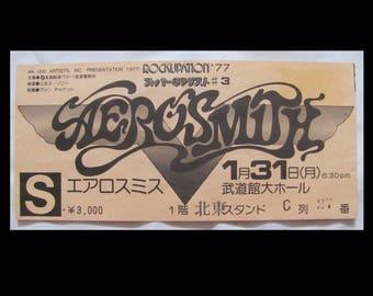 Aerosmith  1977 Japan Rocks Tour Complete Stamped Admission Concert Ticket FREE S+H
