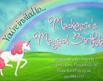 "Children's Unicorn Birthday Party Invite 4""x6"", Digital FIle"