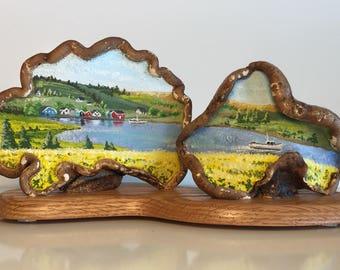 Unique, original artwork. Oil on artists conk (tree, bracket fungus). Lobster Season on the North Shore