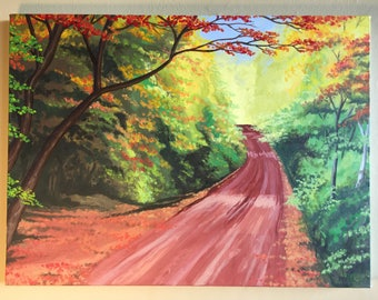 Hand-painted, countryside. Red Clay Road in Autumn: Rural Prince Edward Island (PEI)