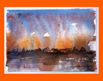 Village Storm - Original Painting by Keith Browning