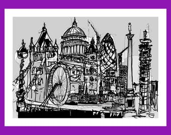 London Montage - Signed Giclée Print by Keith Browning