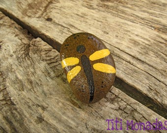 Stone painted dragonfly
