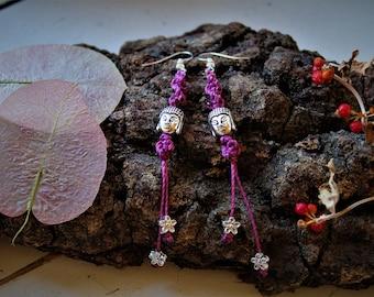 Earrings-Buddha Earrings Waxed Thread