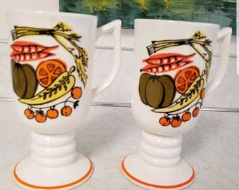 2 Vintage Napcoware Vegetables coffee mugs - Retro Napco