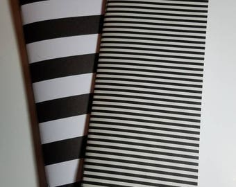 Black and White Striped Traveler's Notebook Insert Set