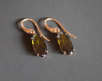 Drop earrings with forest green zircons, dainty jewelry for women, everyday earrings