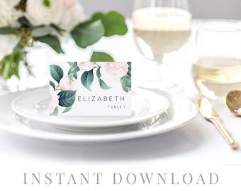 Printable Place Cards INSTANT DOWNLOAD, Wedding Name Cards, DIY Printable Decorations, Templett, Editable pdf, Tent, Leaves, The Duchess