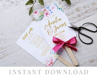 Printable Wedding Program INSTANT DOWNLOAD, Paddle Program, Program Fan, DIY Wedding Ceremony, Templett, Editable pdf, Bright, Bloom