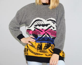 80s Sweater. Abstract Sweater. Bold. Colorful. 1980s. 80s Pullover. Vintage Sweater. Sweater Vintage. Vintage Pullover. Large. 80s clothing.