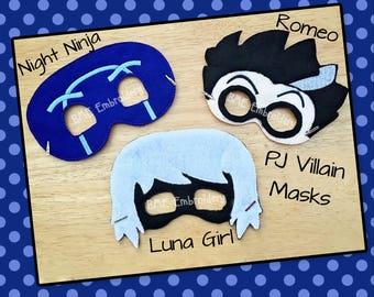 Pj Masks Inspired-Luna Girl-Romeo-Night Ninja Inspired Felt Mask- PJ Masks Felt Masks-Dress Up/Imaginary Play- Birthday Party-PJ Masks Party