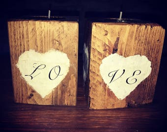 Love / Home Handmade shabby chic candle holders