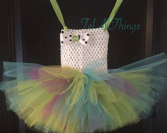 Turquoise, Green, Purple & White Tutu dress and headband Newborn 0-3 months 3-6 months 6-9 months 12 months 18 months 24 months