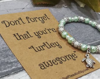 Turtle Bracelet, Turtle Beaded Bracelet, Turtle Pearl Bracelet, Turtle charm Bracelet, Turtle Jewellery, Sea Turtle Gift, Ocean Jewellery,