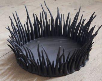 Ceramic Bowl Deco pottered Black
