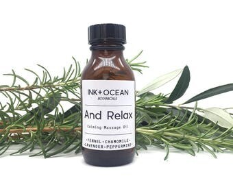 Handcrafted Relaxing Massage, Body and bath Oil, Made With Essential Oils, Chamomile, Fennel,Peppermint And Lavender