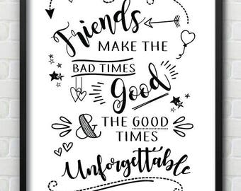 Friendship Best Friend Homeware Wall Print - Can Be Personalised With Names On Bottom