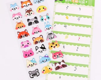 DIY Colorful Animal Half Face Kawaii 3D Stickers Diary Planner Journal Note Diary Paper Scrapbooking Sticker - Green