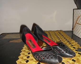 1970's Vintage Black JORDACHE Peep Toe heels