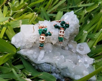 Malachite cactus with howlite skull earrings
