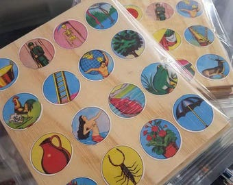 Handmade wooden Loteria cards - 4 card set