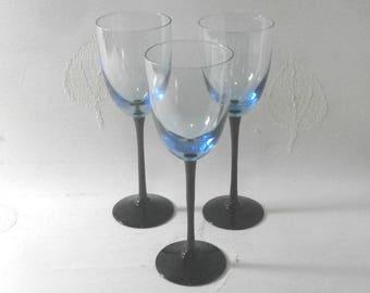 set of three blue translucent wine glasses/ black stands/1960s/retro/British