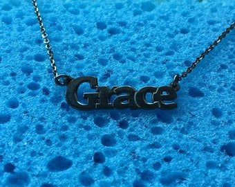 Grace name necklace,sterling silver 925, black plated