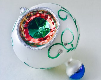 Christmas Ornament Decoration Vintage Poland Polish Hand Painted Blown Glass Indented
