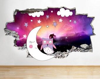 G560 Night Sleep Owl Girls Nursery Smashed Wall Decal 3D Art Stickers Vinyl Room