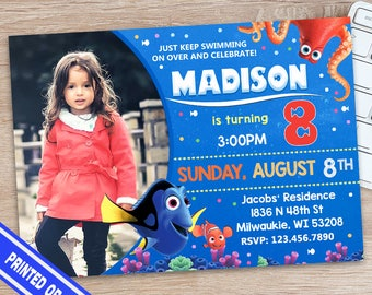 Finding Dory Invitation - Finding Dory Birthday - Finding Dory Birthday Shirt - Fiding Dory Birthday Outfit - Fnding Dory Printable