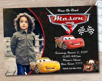 ON SALE 30% Disney Cars 3 Invitation - Disney Cars Birthday Invitation - Disney Cars