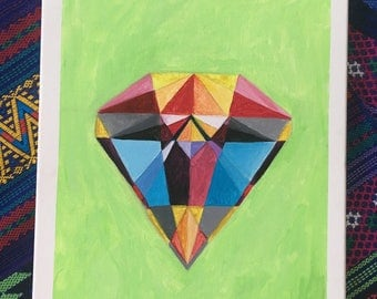 canvas; acrylic painting; diamond
