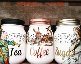 Alice in Wonderland Tea Coffee Sugar kitchen canister set 500ml